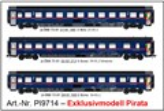 Pirata 9714 - 3er Set Nachtzugwagen Bcmz+Bmz ÖBB N